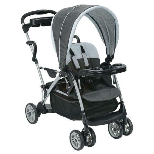 Lightweight Double Stroller with Toddler Standing Platform S